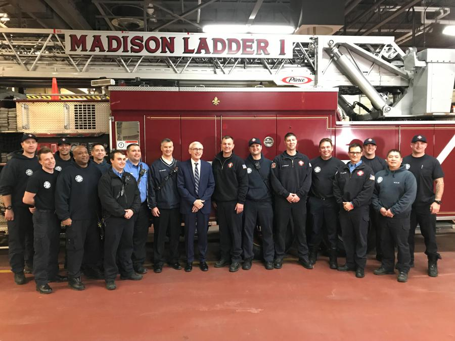Governor Evers, firefighters, and Ladder 1