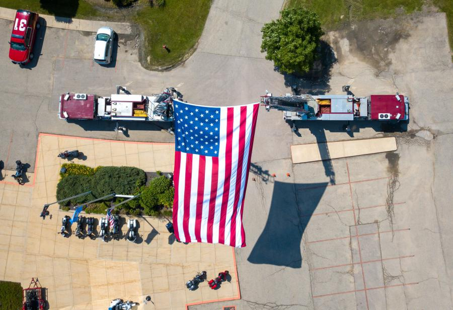 American flag seen from overhead