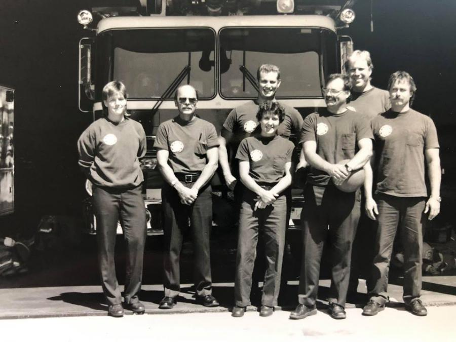 Campbell and Ladder 2 crew ca. 1990