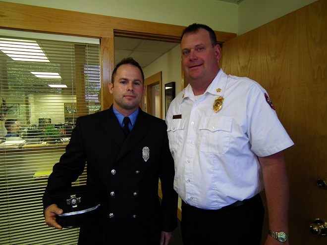 Ty Stebbins and Chief Steven Davis