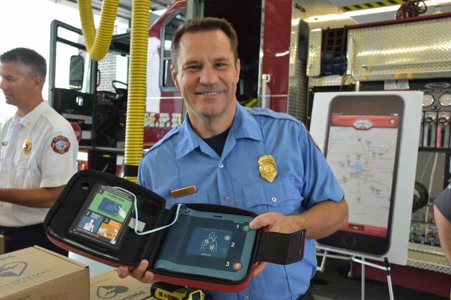 Firefighter with AED