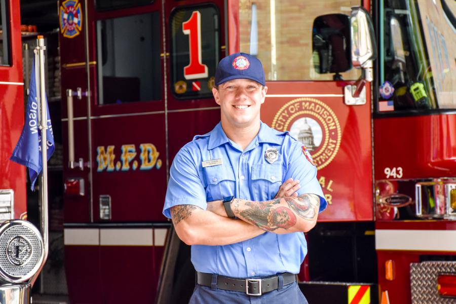 Firefighter Seth Dahmen