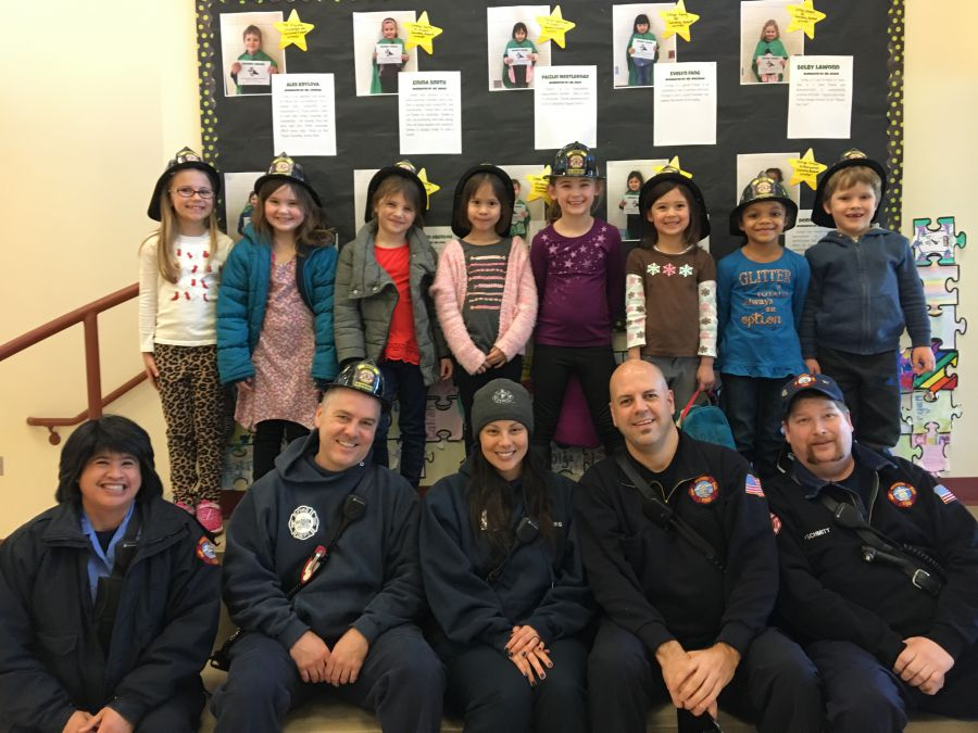 Engine 12's crew with Kindegarten and 1st Grade SWIMMY nominees