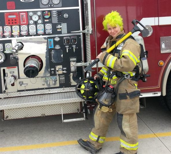 Firefighter Lisa Van Buskirk with bright yellow hair