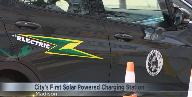 City of Madison's Bolt using the solar EV charger.