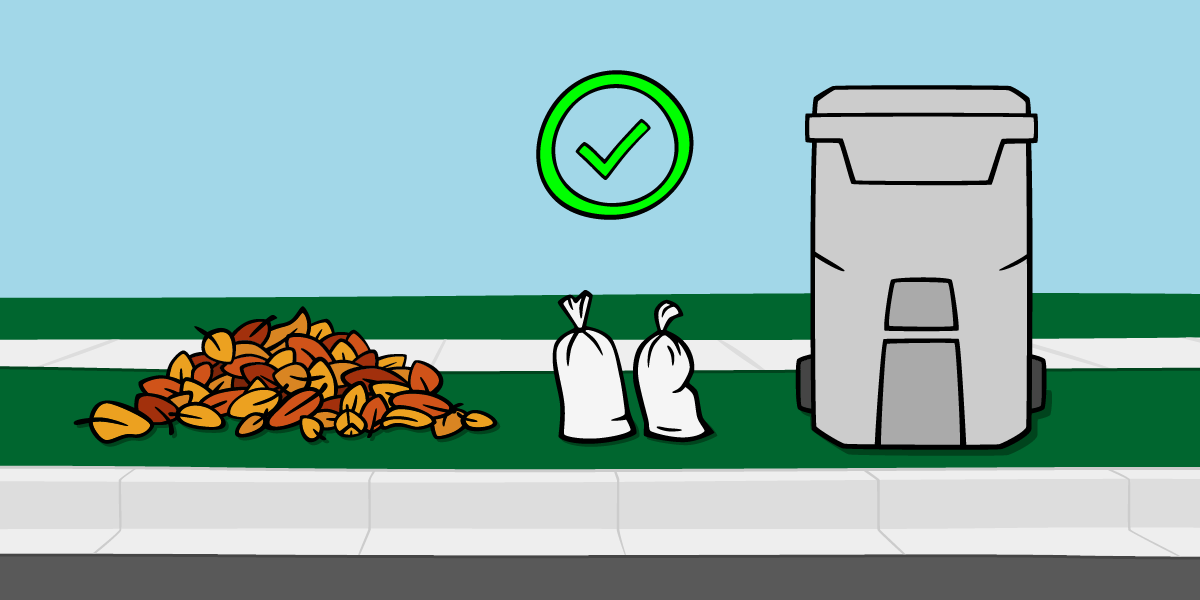 Place sandbags separate from leaf piles and refuse carts.
