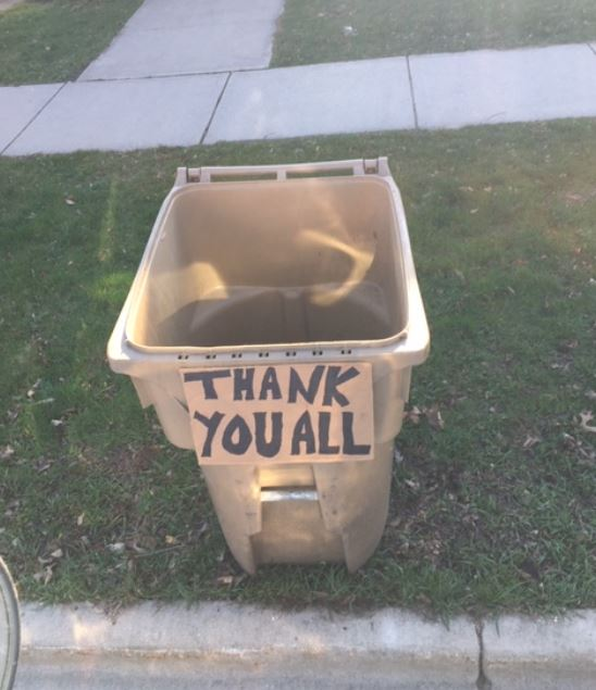 thannk you on a refuse can