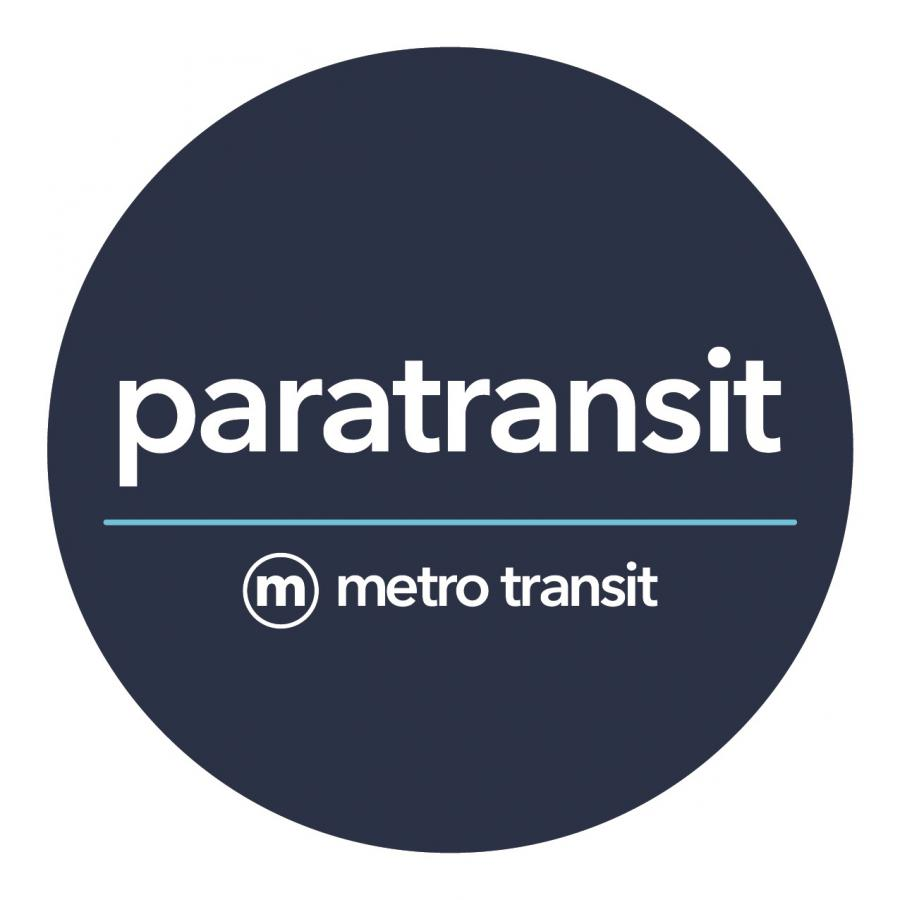 Blue paratransit service identifier sticker posted on all vehicles