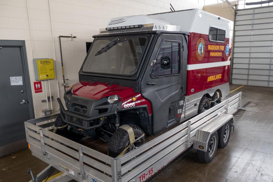 ATV3 - This ATV/mini-ambulance helps us gain access to patients at special events and other areas with high-density crowds.