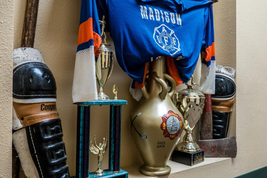 Hockey Hall of Fame - The Madison Fire Hockey Club keeps its memorabilia at Station 3.