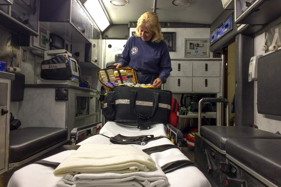 Medic 4 - A glimpse inside Medic 4, which carries an assortment of emergency medical equipment, supplies, and medications.