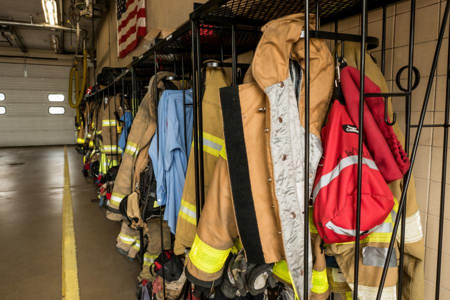 Station 5 Gear Racks - These racks store turnout gear for all the firefighters and paramedics at Station 5 on a total of three shifts.
