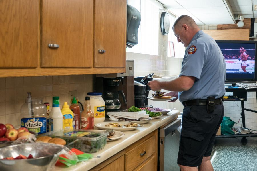 Station 5 Kitchen - Four firefighters and two firefighter/paramedics cook and dine together every day.