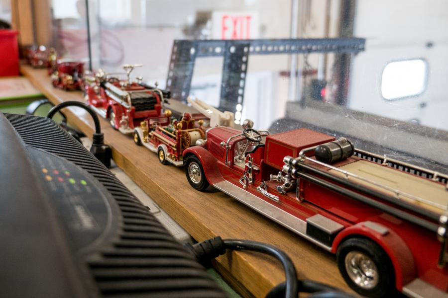 Station 5 Watch Room - Classic model fire trucks line the windowsill of the Station 5 watch room.