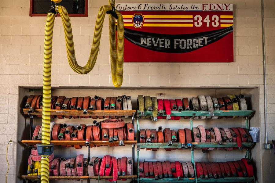 Hose Rack - This hose rack is situated on the sidelines of the Station 6 apparatus bay.