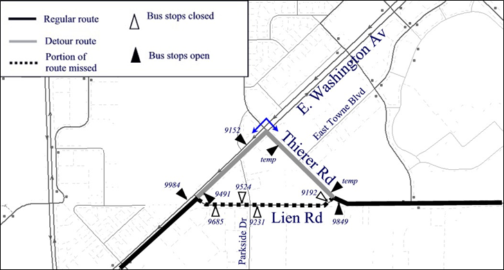 Map of Lien Rd closed. Board on Thierer