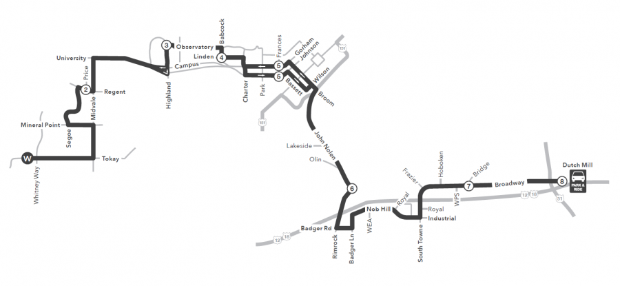 Route 11 map to/from West Transfer to Dutch Mill Park and Ride