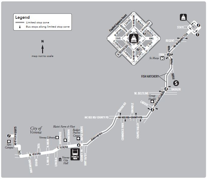 Route 75 service to/from Verona/Epic and the capitol square