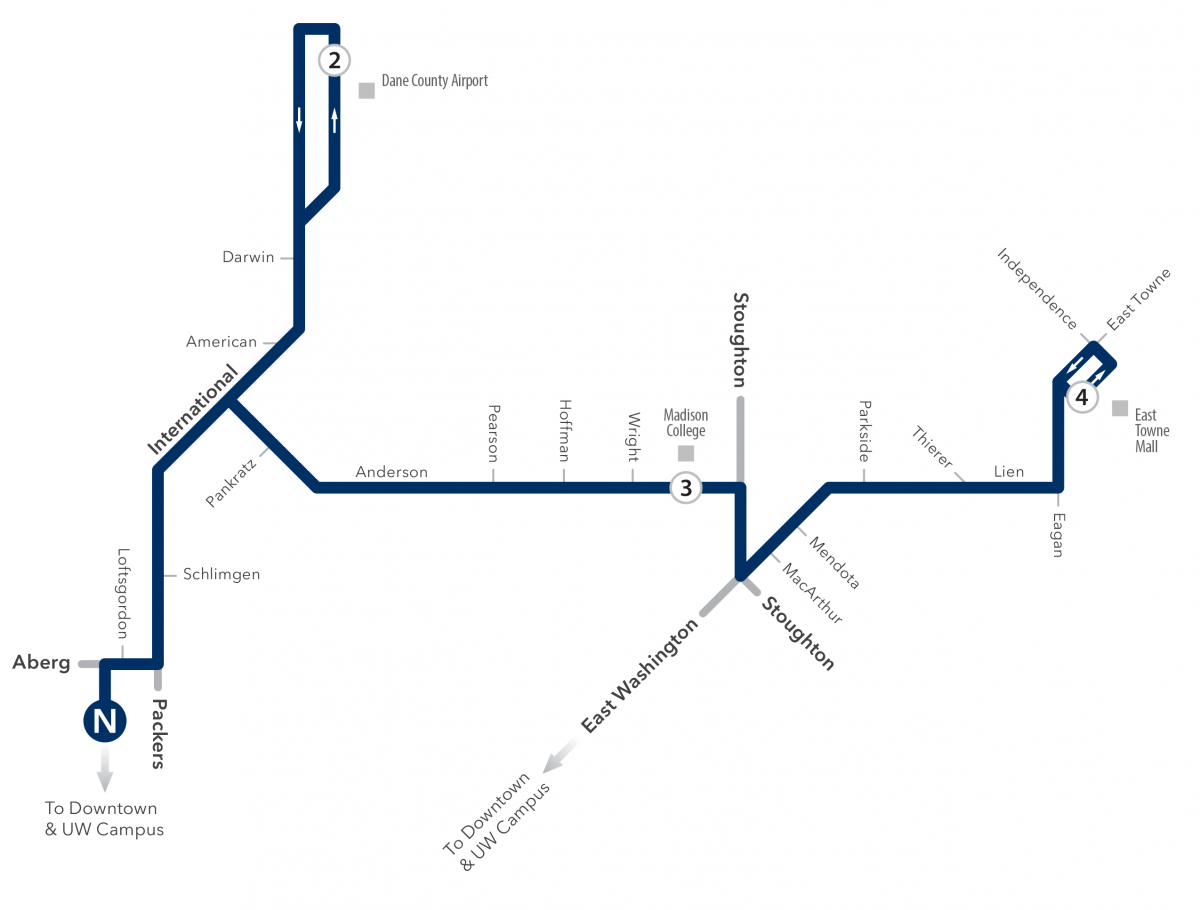 route 20 map to airport and east towne