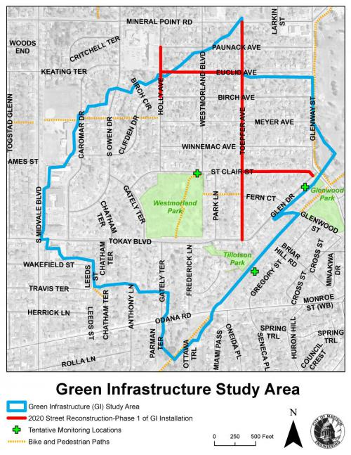 Map showing GI Pilot Area. The study is approximately bounded by the SW Bike Path, Mineral Point Rd, S Midvale Blvd, and Glenway St.