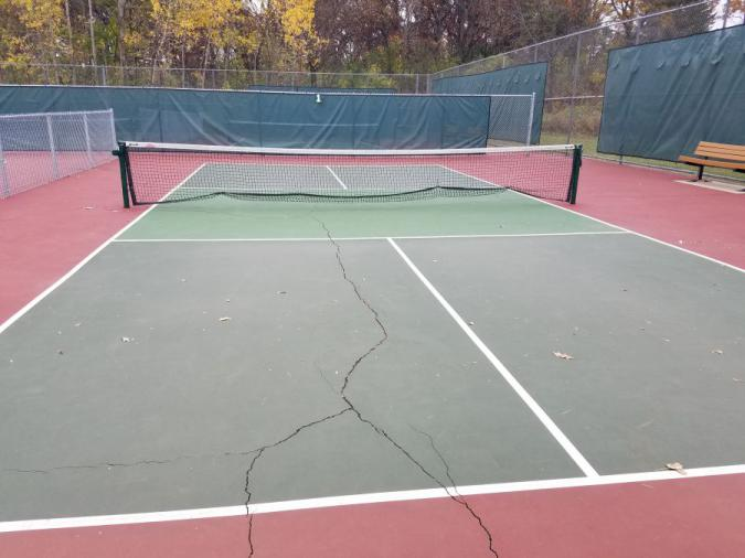 Picture from 2020 of Garner Park pickleball courts