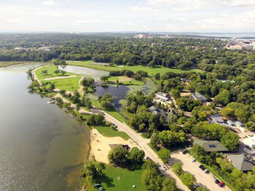 Aerial of Vilas Park, showing Lake Wingra beach.