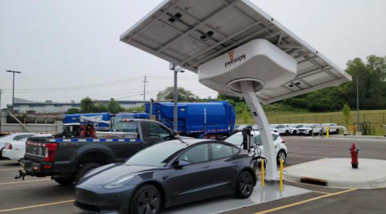 Tesla charging on a solar charger