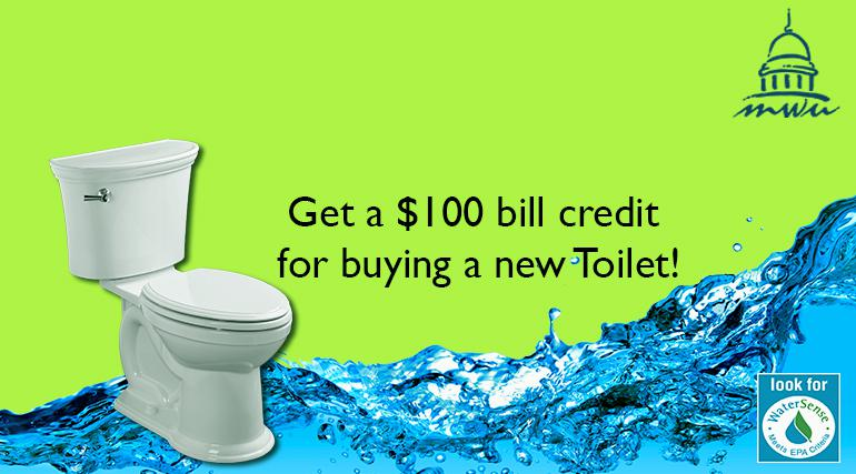 Get a $100 bill credit for buyng a new toilet!