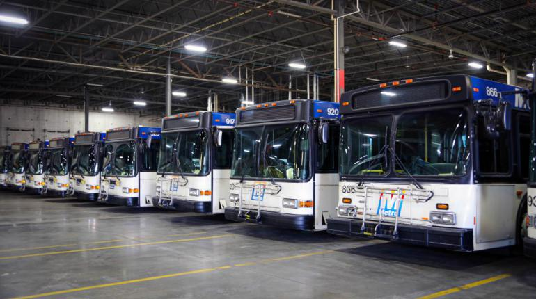 Metro buses lined up in row
