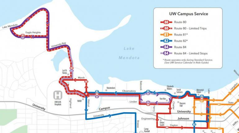 Newly designed UW campus service map
