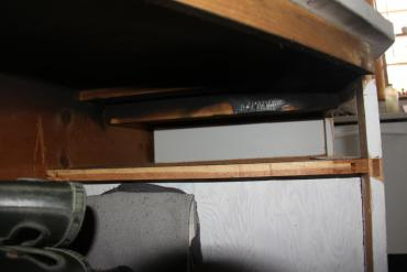 Fire damage to drawer in kitchen