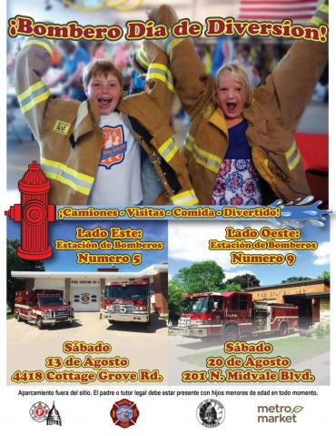 Firefighter Fun Day poster-Spanish