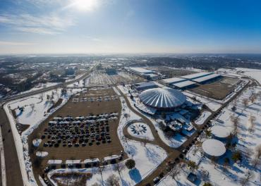 An aerial photo of Alliant Energy Center covered with snow