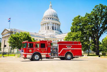 Pierce Volterra shown in front of Wisconsin State Capitol