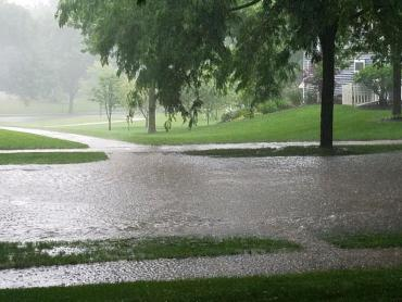 Photo showing urban flash flooding in West Madison on June 29, 2020
