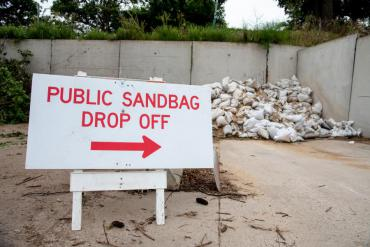 Public sandbag drop off area at 4602 Sycamore Ave