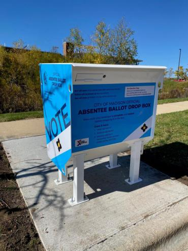 City of Madison absentee ballot drop box at Fire Station 11