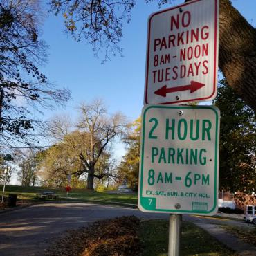 Image of Tuesday No Parking Sign
