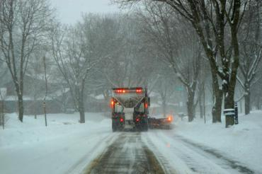 A photo of snowplowing operations taken during a storm in February 2020