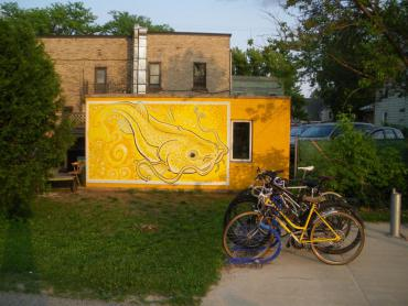 """Photograph of Duane Bohlman's finished mural titled, """"The word 'Yahara' means 'Catfish'"""""""