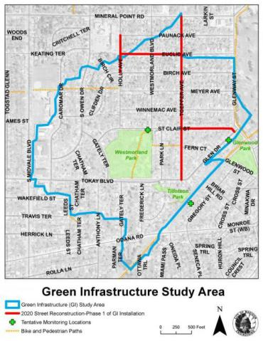 Map of green infrastructure pilot project location boundaries
