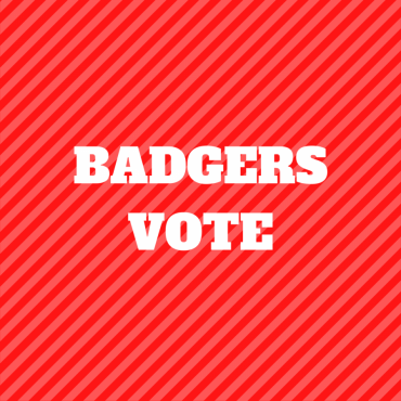 Red striped graphic stating Badgers Vote