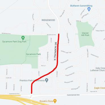Image of Map showing speed reduction area for North Thompson drive.