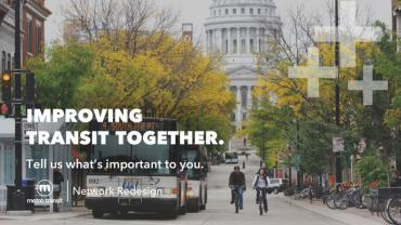Imprivign Transit Together. Metro bus on State St. with Capitol in background