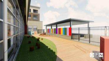 This image is a rendering of Velliquette's site-specific piece created for New Pinney Library, please note final color, form, et