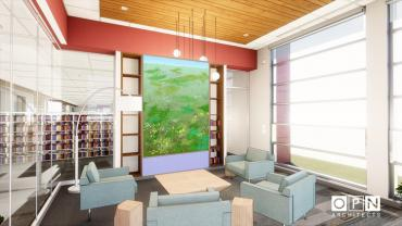 This image is a rendering of Cheong's site-specific piece created for New Pinney Library, please note final color, form, etc may