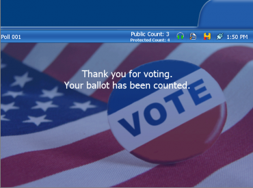 Thank You for Voting tabulator screen