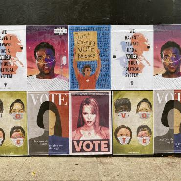 A group shot of UW Graphics Voting Posters