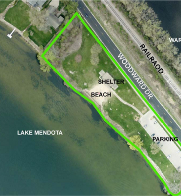 Map of future location of Warner Beach Park Shelter