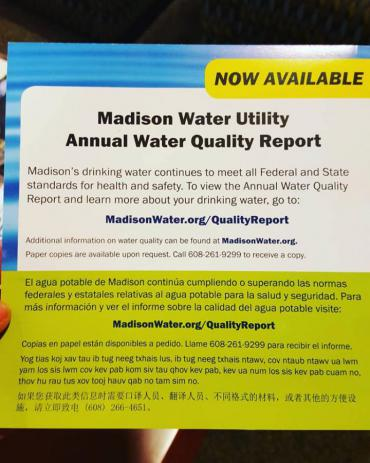 Water Quality Report announcement postcard